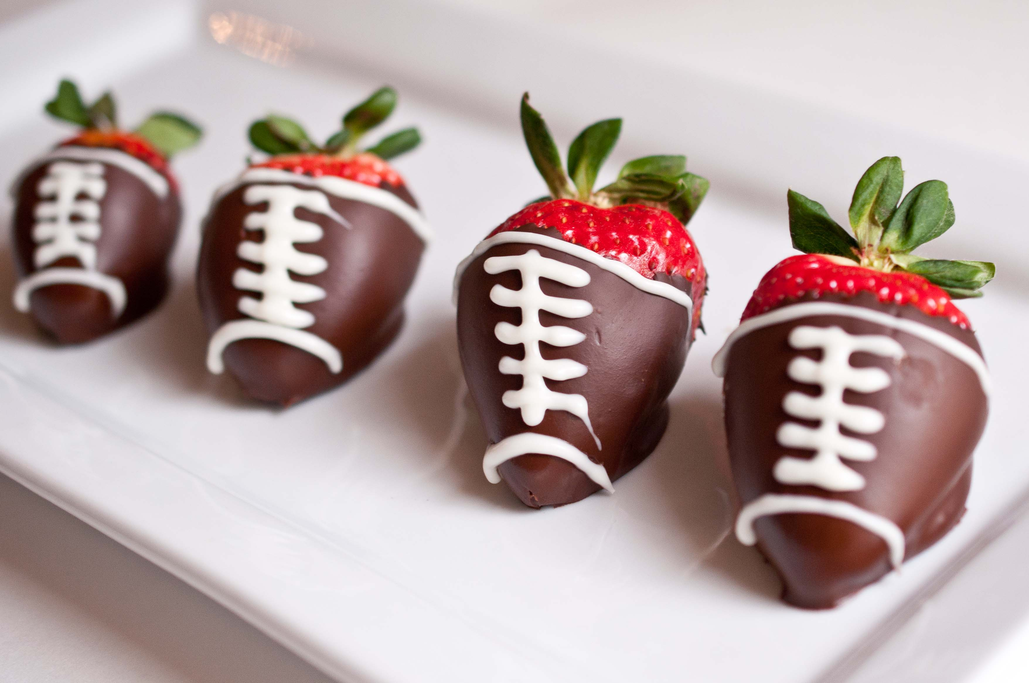 Superbowl Snack: Chocolate Covered Strawberry Footballs - Domestic ...