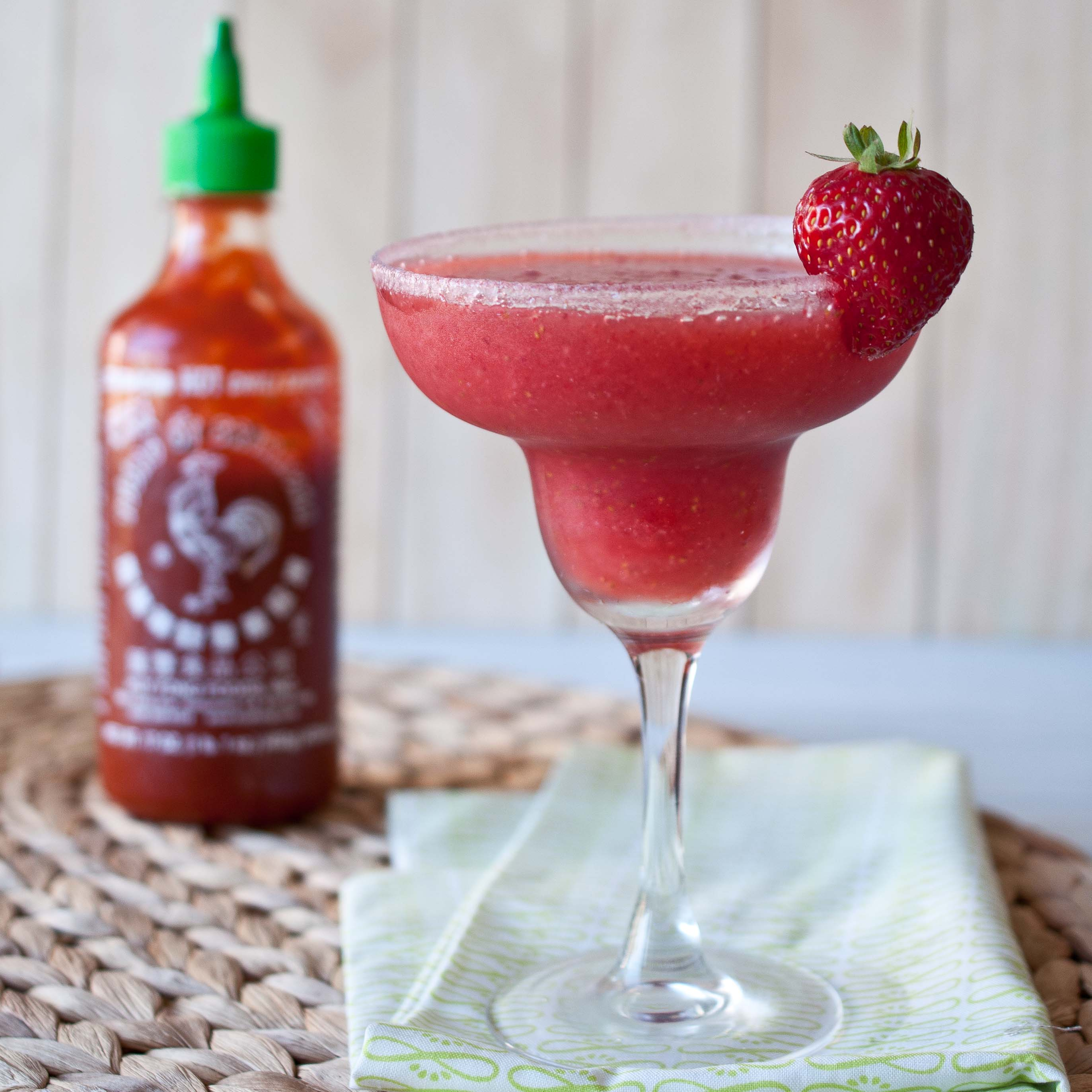 Strawberry Sriracha Margarita, sweet with the perfect kick of spice