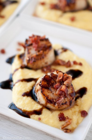 Scallops smoked sweet corn puree stout balsamic glaze