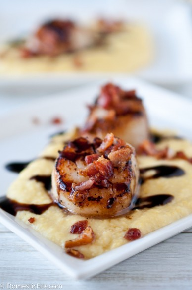 Seared Scallops Smoked Sweet Corn Puree And Stout Balsamic Reduction