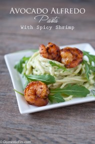 Avocado Alfredo Pasta with Spicy Shrimp P