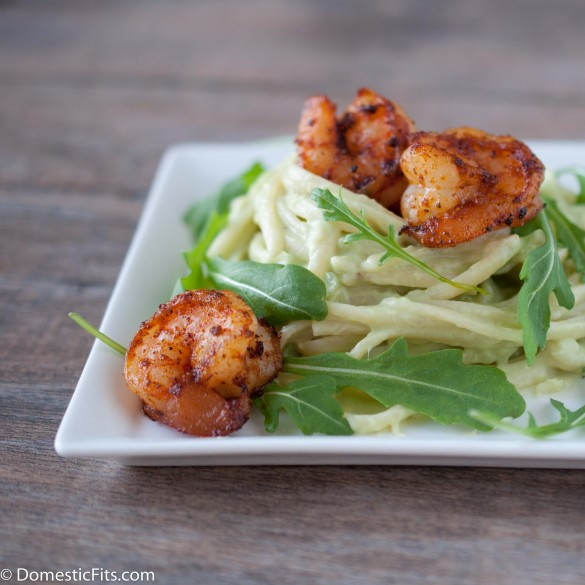 Avocado Alfredo Pasta with Spicy Shrimp2