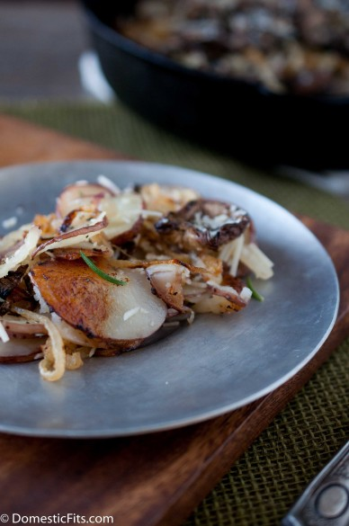 Skillet Roasted Potatoes with Caramelized Onions Parmesan and rosemary 2