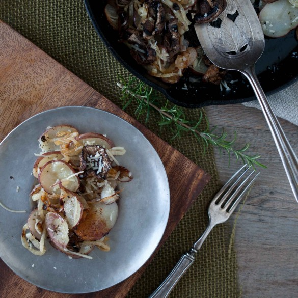 Skillet Roasted Potatoes with Caramelized Onions Parmesan and rosemary TS