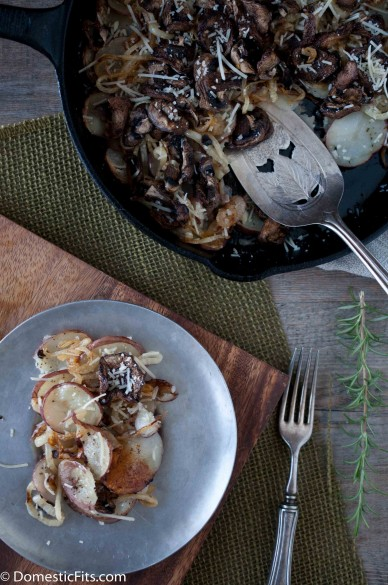 Skillet Roasted Potatoes with Caramelized Onions Parmesan and rosemary_