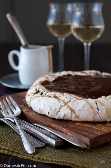 Coconut Pavlova with Cocoa Pudding and Caramel Sauce parve_