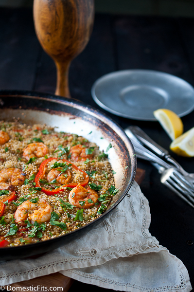 Chicken Sausage and Safron Shrimp Quinoa Paella