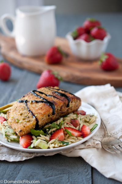 Pistachio Crusted Salmon with Strawberry Balsamic Glaze over Orzo Summer Salad