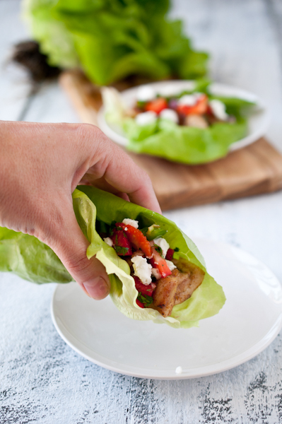 Chicken Strawberry and Goat Cheese Lettuce Wraps. Only 255 calories and just 20 minutes.