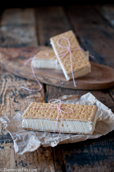 Easy Homemade Caramel Ice Cream Sandwiches. Three ingredients, no ice cream maker.
