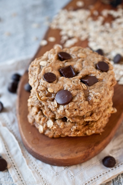 flourless peanut butter oatmeal chocolate chips cookies 2