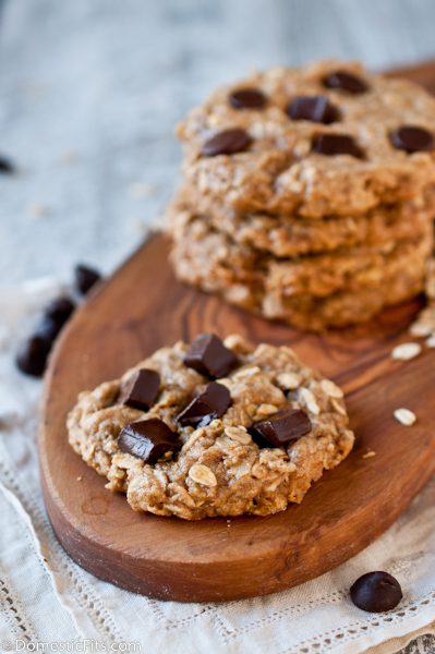 flourless peanut butter oatmeal chocolate chips cookies 3